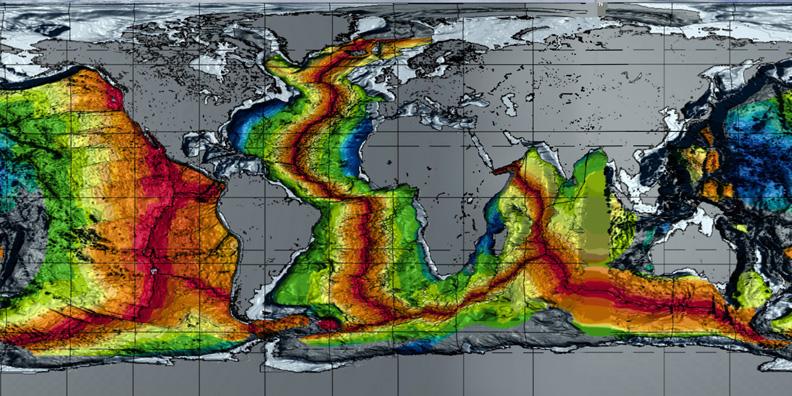 Erdexpansion - Weltkarte, Alter vom Meeresgrund